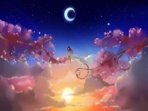 Chica sentada sobre una rama en el cielo
