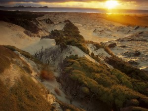 Sol iluminando las dunas