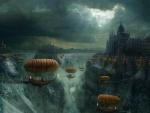 Aeronaves en una ciudad de fantasía