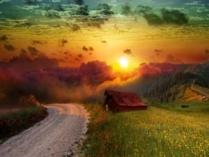 Hermoso cielo sobre el campo