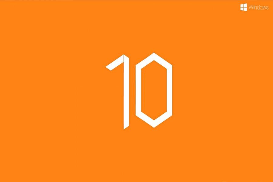 Windows 10 en fondo naranja