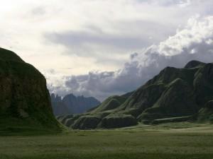 Montañas cubiertas de hierba