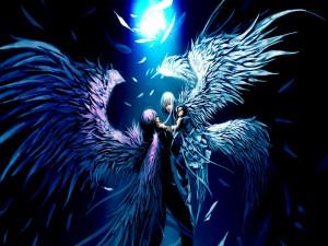 Pareja anime con grandes alas de ave fénix