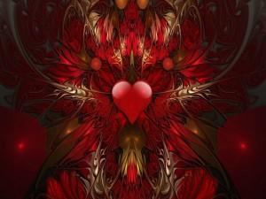 Imagen de un corazón central rodeado por dibujos abstractos