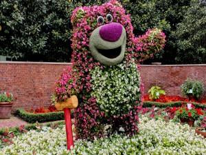 Curioso oso en un jardín con flores blancas y rosas