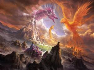 Dragón y serpiente contra un ave fénix