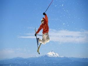 Gran salto con los esquís