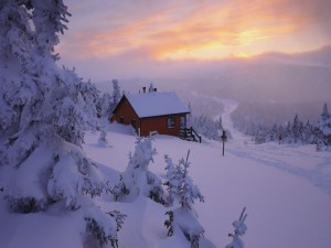 Cabaña en un lugar cubierto de nieve
