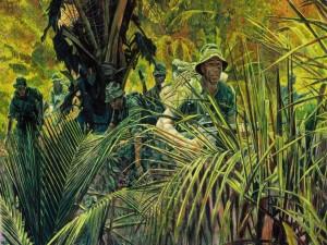 Unos soldados con camuflaje en la selva