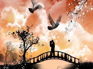 Besos de amor en el puente