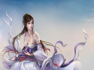 Bella mujer con mirada dulce y un traje de seda