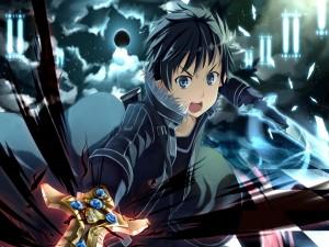 Kirito luchando con su espada (Sword Art Online)