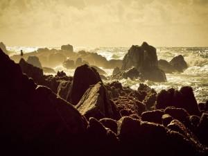 La luz del sol reflejada en las olas
