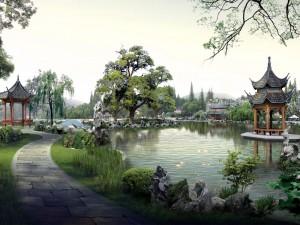 Un hermoso jardín oriental