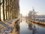 Río en una mañana fría de invierno