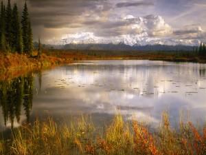 Montañas vistas desde la orilla de un lago