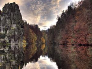 Rocas y árboles a orillas de un lago