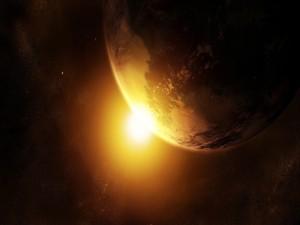 Sol iluminando una zona de la Tierra
