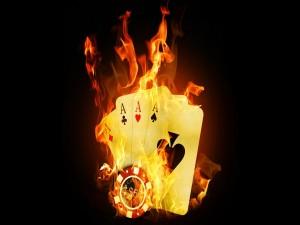 Fuego en las cartas de poker