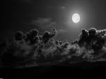 Impresionante luna en un cielo oscuro