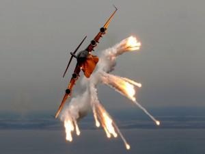 Bombardero en acción