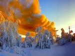 Humo sobre un paisaje nevado