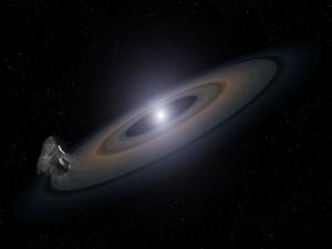 Meteoro junto a unos anillos planetarios