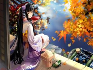 Chica anime en kimono