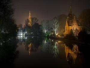 Edificios y árboles reflejados en el agua