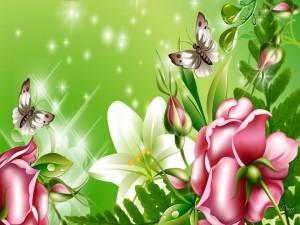 Flores y mariposas en un día de primavera