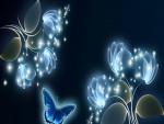Mariposa junto a unas flores resplandecientes