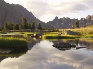 Corriente de agua cerca de las montañas