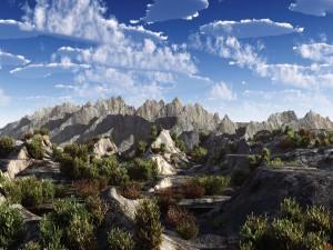Nubes sobre unas montañas rocosas