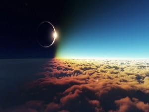 Eclipse sobre las nubes