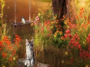 Gatito y pájaro entre flores silvestres