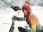 Abrazando al muñeco de nieve
