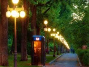 Cabina de teléfono en un parque