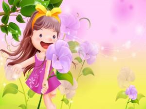 Niña feliz entre las flores