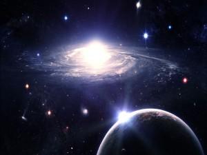Galaxia junto a un planeta