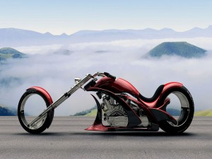 Chopper en un paisaje con niebla