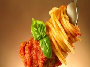 Espaguetis con salsa de tomate enrollados en un tenedor