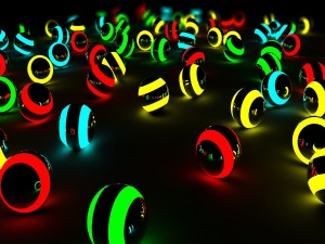 Bolas iluminadas en varios colores
