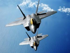 Dos F-22 Raptor sobre el mar