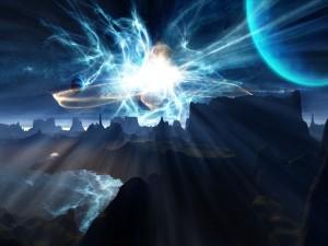 Planetas y luces sobre las montañas