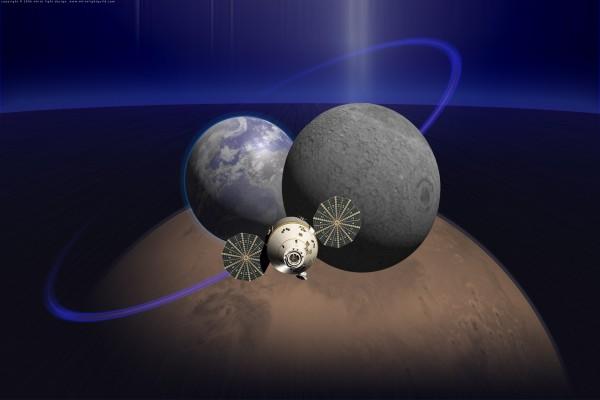Satélite orbitando entre la Luna y la Tierra