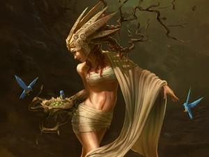 Nido sobre la rama de una mujer árbol