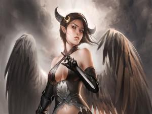 Elfa con cuernos y alas de ángel