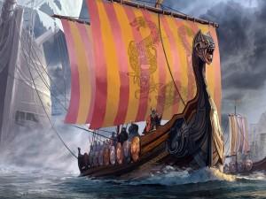 Vikingos en una embarcación