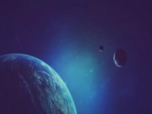 Tres planetas en el espacio