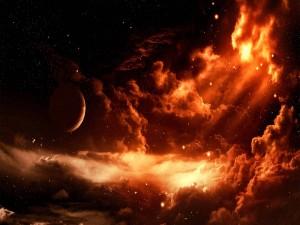 Planeta entre una masa de nubes rojizas